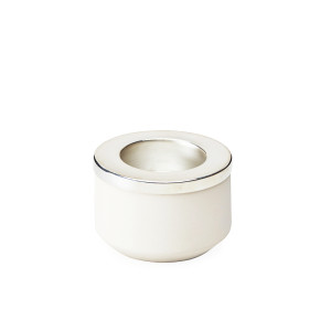 Small Candleholder-White and Silver